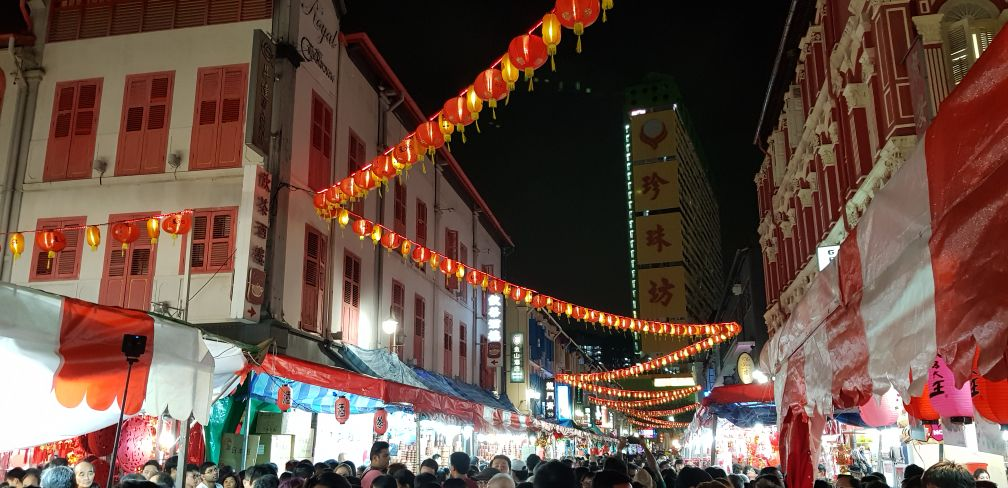 Busy street in Chinatown ahead of Chinese New Year